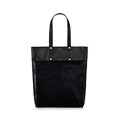 Faith - Black leather pony hair tote bag