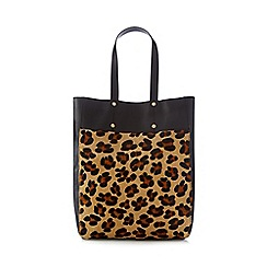 Faith - Black leopard print faux pony tote
