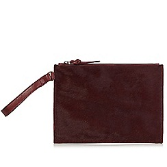 Faith - Dark red leather faux pony hair clutch bag