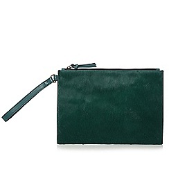 Faith - Green pony hair zip top clutch bag