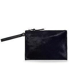 Faith - Navy leather pony hair zip top clutch bag