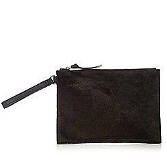 Faith - Black leather pony hair clutch bag