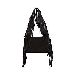 Faith - Black leather fringed shoulder bag