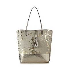 Faith - Gold leather pony hair foil-effect tote bag