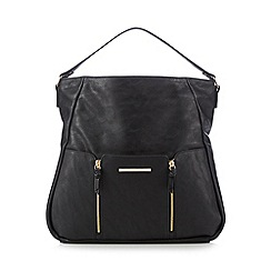 Red Herring - Black double zip detail shoulder bag