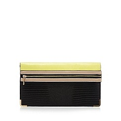 Red Herring - Yellow zip front reptile clutch bag
