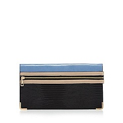 Red Herring - Blue zip front reptile clutch bag