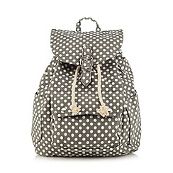 Red Herring - Grey polka dot drawstring backpack