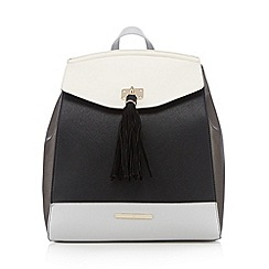 Red Herring - Cream structured tassel backpack