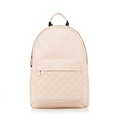 Red Herring - Light pink quilted pocket backpack