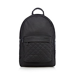 Red Herring - Black quilted pocket backpack