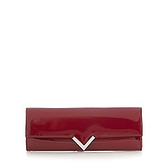 Red Herring - Red structured 'v' clutch bag