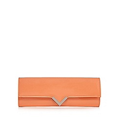 Red Herring - Coral patent structured V clutch bag