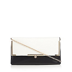 Red Herring - Black fold over metal bar clutch