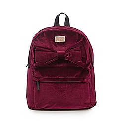 Red Herring - Red bow front velour backpack