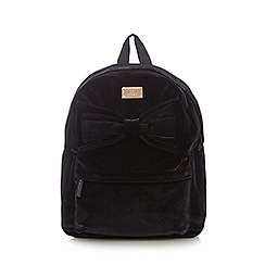 Red Herring - Black bow front velour backpack