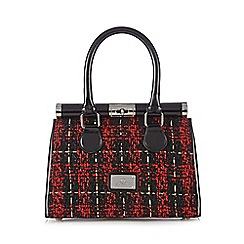 Red Herring - Red textured checked tote bag