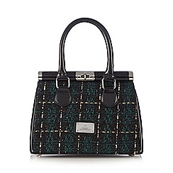 Red Herring - Green textured checked tote bag