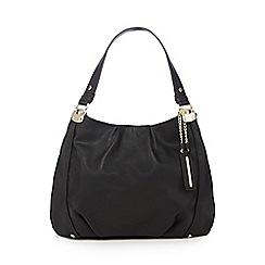 Red Herring - Black PU three compartment shoulder bag