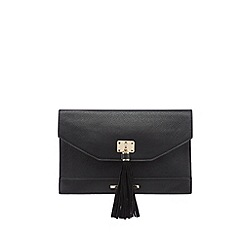 Red Herring - Black textured tassel clutch bag