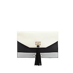 Red Herring - Cream block colour textured tassel clutch bag