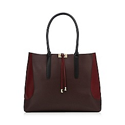 Red Herring - Dark red colour block tote bag