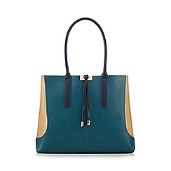 Red Herring - Turquoise colour block tote bag