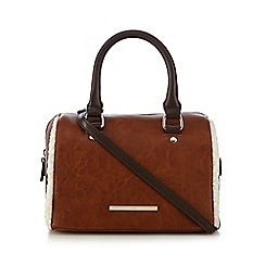 Red Herring - Brown shearling mini bowler bag