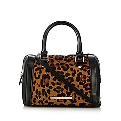 Red Herring - Black leopard print mini bowler bag
