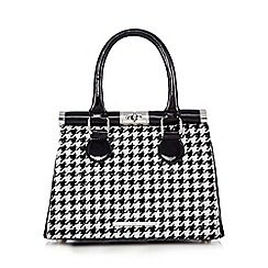 Red Herring - Black dogtooth bowler bag