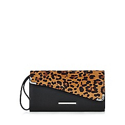 Red Herring - Black leopard print asymmetric clutch bag