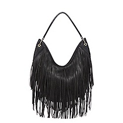 Red Herring - Black fringed hobo bag
