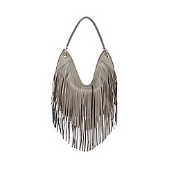 Red Herring - Grey fringed shoulder bag
