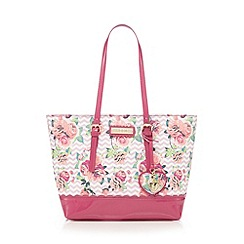 Floozie by Frost French - Pink chevron rose print shopper bag