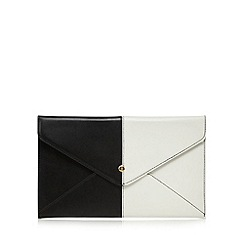 Red Herring - Black two tone envelope clutch bag
