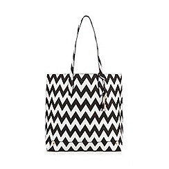 Red Herring - Black zig zag shopper bag