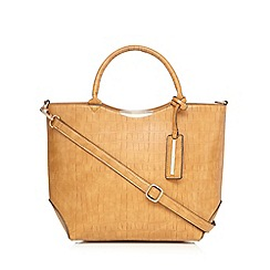 Red Herring - Tan croc-effect tote bag