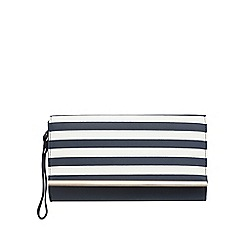 Red Herring - Navy stripped clutch