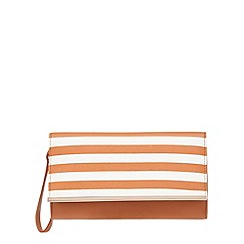 Red Herring - Tan striped clutch bag