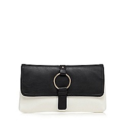 Red Herring - Black and white ring charm clutch bag
