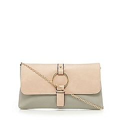 Red Herring - Cream and grey ring charm clutch bag