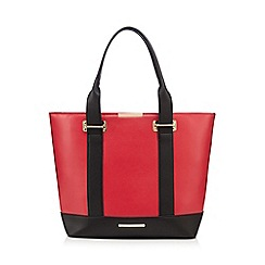 Red Herring - Red contrast handle tote bag