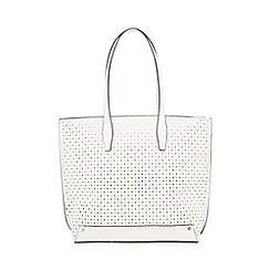 Red Herring - White diamond cut-out shopper bag