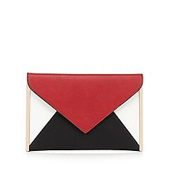 Red Herring - Red colour block envelope clutch bag