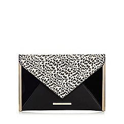 Red Herring - Black leopard print clutch bag