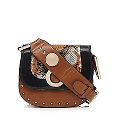 Faith - Tan snake trim cross body bag