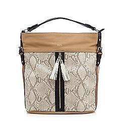 Faith - Beige colour block shoulder bag