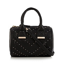 Faith - Black studded chevron bowler bag