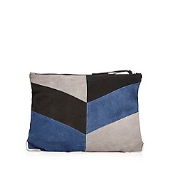 Faith - Navy suede colour block clutch bag