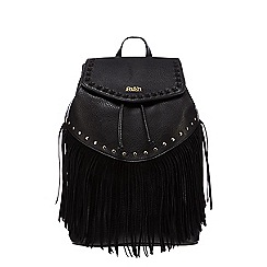 Faith - Black fringe studded backpack